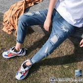 【OBIYUAN】水洗 刷色 刷破 單寧長褲 牛仔褲 共1色【Y0677】