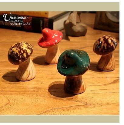 【蘑菇兄弟】田園逼真陶瓷蘑菇擺設4個組