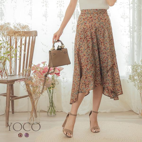 東京著衣【YOCO】YOCO-氣質優雅小碎花後鬆緊不規則長裙-S.M.L(190648)