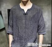超薄款棉麻料盤扣夏季中式潮流男裝短袖T恤亞麻唐裝中國風桖半袖