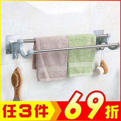 北歐風無痕貼雙桿毛巾掛架 廚房抹布架 免釘免打孔【AE04273】 i-Style居家生活