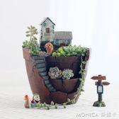 創意田園空中花園多肉植物花盆裝飾花器個性微景觀苔蘚花盆栽 美斯特精品