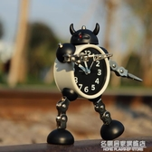 變形機器人鬧鐘創意學生小鬧鐘可愛兒童卡通鬧鐘臺鐘座鐘金屬鬧表 名購居家