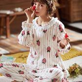 冬季珊瑚絨睡衣女長袖秋冬保暖加厚加絨甜美可愛法蘭絨家居服套裝-ifashion