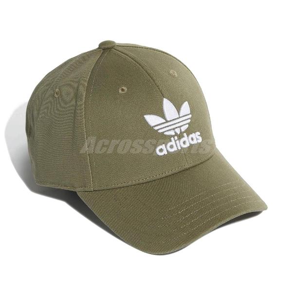 adidas 帽子 Trefoil Baseball Cap 卡其綠 白 男女款 運動休閒 【PUMP306】 EK2995