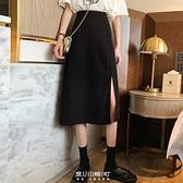 黑色大碼胖mm半身裙女裝夏裝中長款a字裙遮肚子顯瘦高腰開叉裙子 快速出貨