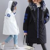 大毛領棉衣女 冬季新款寬鬆加厚中長款大尺碼牛角扣字母連帽長袖棉襖