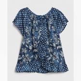 Gap女幼雅致印花圓領休閒上衣539952-靛藍色花卉