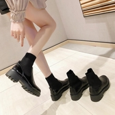 英倫風短靴百搭馬丁靴女春秋季新款高筒小皮鞋厚底襪靴單靴女聖誕交換禮物