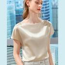 醋酸緞面短袖T恤一字肩上衣(四色S-3XL可選)/設計家 AL310225
