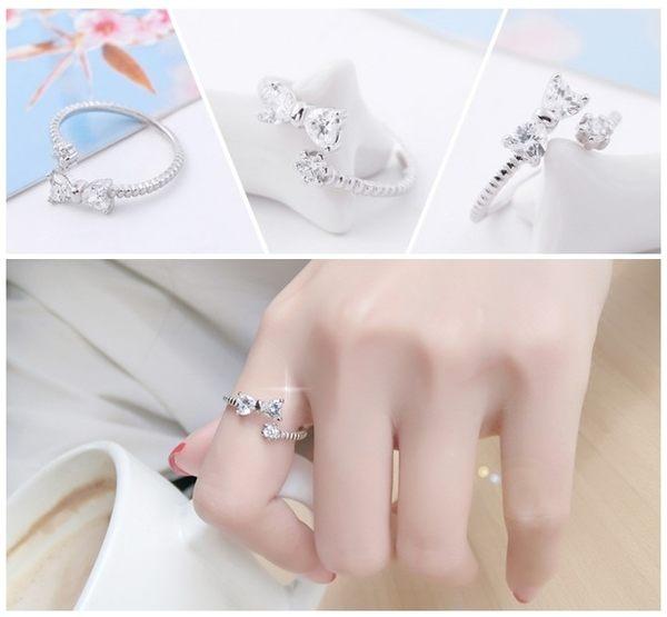925純銀 韓款蝴蝶結 白水晶 C型可調整戒指 防抗過敏 不退色