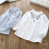 春季新款韓版童裝女童花朵刺繡娃娃衫兒童寶寶長袖套頭衫襯衣 聖誕交換禮物