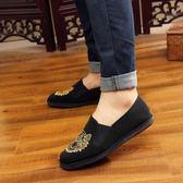 復古虎頭刺繡男士布鞋 低幫千層底純棉布鞋一腳蹬休閒單鞋