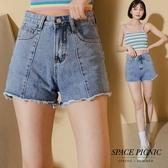 短褲 Space Picnic|不修邊抽鬚單寧牛仔短褲(現+預)【C20073012】