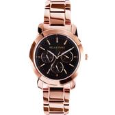 Relax Time 時尚達人日曆顯示腕錶-黑x玫塊金/38mm R0800-16-31