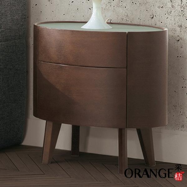 【采桔家居】 吉布地 現代2尺玻璃二抽床頭櫃/收納櫃