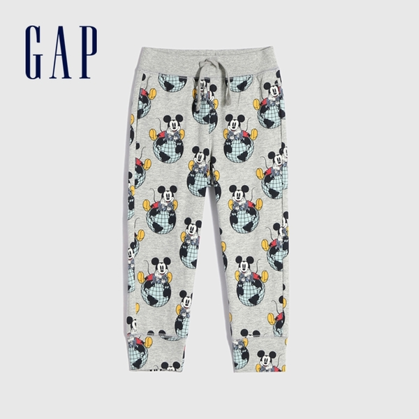 Gap男幼童 Gap x Disney 迪士尼系列聯名純棉長褲 649598-淺灰米奇印花