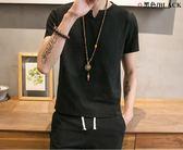 夏季新款男士套裝短袖純色T恤棉麻半袖體恤休閒潮流男裝 QQ937『優童屋』