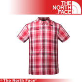 【The North Face 美國 男 抗UV排汗短襯衫/L《紅色格紋》】3GIK/抗紫外線/透氣/短袖/襯衫★滿額送