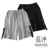 EASON SHOP(GW5624)實拍大口袋壓釦飄帶設計鬆緊腰抽繩綁帶收腰工裝褲休閒褲高腰五分褲寬褲棉褲短褲
