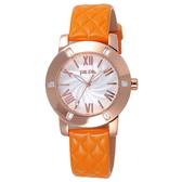 Folli Follie 時尚羅馬都會晶鑽腕錶-玫瑰金框白x橘皮帶