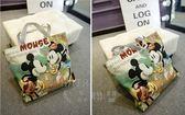 ~迪士尼~超可愛 米妮米奇小熊維尼史迪奇凱蒂貓邦妮兔帆布包手提 袋側背袋