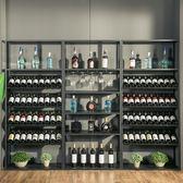 複古歐式鐵藝酒架酒吧落地酒櫃葡萄酒紅酒收納展示架置物架酒杯架