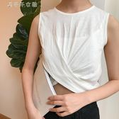 韓版純色下擺性感露臍短款心機圓領無袖背心百搭T恤衫女消費滿一千現折一百