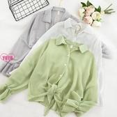 新品!素面薄款雪紡罩衫 單排扣防曬開衫