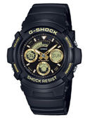 CASIO 卡西歐 極速風潮賽車風格三眼雙顯休閒腕錶-黑x金 AW-591GBX-1A9