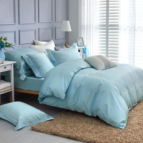 鴻宇 SUPIMA500織 四件式雙人加大兩用被床包組 清雅春芽 刺繡綠M2657