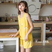 夏季無袖背心棉綢睡衣短袖兩件套裝女士夏天大碼薄款人造棉家居服 Korea時尚記