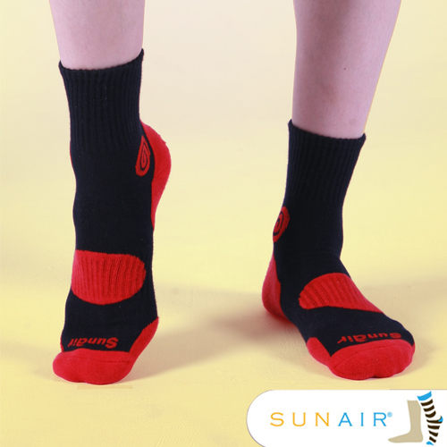 sunair 滅菌除臭襪子-自行車款1/2筒L(25~29)-黑+紅/SA1103