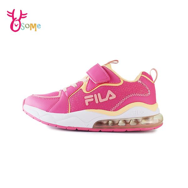 FILA童鞋 女童運動鞋 氣墊鞋 慢跑鞋 運動鞋 跑步鞋 魔鬼氈運動鞋 大童 康特杯 R7677#桃紅◆奧森