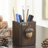辦公收納盒 美式復古實木創意筆筒多功能方形筆桶辦公文具用品桌面收納盒筆座 俏腳丫