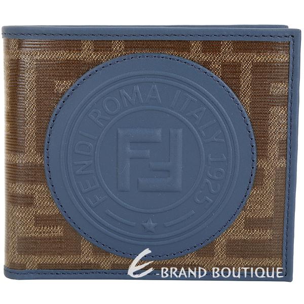 FENDI Stamp FF經典老花 釉面帆布對折短夾(莫蘭迪藍色) 1920485-85