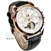JARAGAR 全自動機械錶 雙日曆腕錶 男錶 羅馬數字時刻 真三眼 防水手錶 簍空 玫瑰金 J597玫白