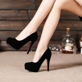 高跟鞋12cm細跟圓頭單鞋防水台秋季新款女絨面百搭黑色禮儀鞋  卡布奇諾