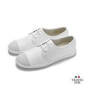 TRAVEL FOX(女)  舒適拼接休閒懶人鞋-白