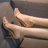 高跟鞋一字扣涼鞋女夏季細跟露趾百搭黑色真皮性感小清新 愛麗絲精品