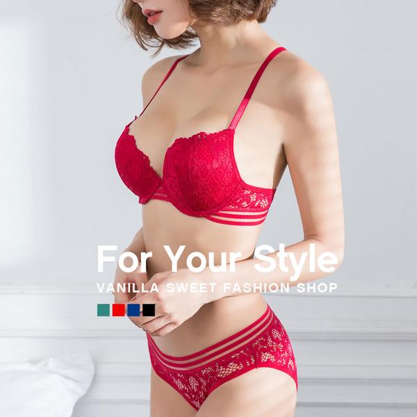 2Way美背輕肌蕾絲心型厚墊成套內衣褲 BCD罩杯 (附贈內褲) -香草甜心
