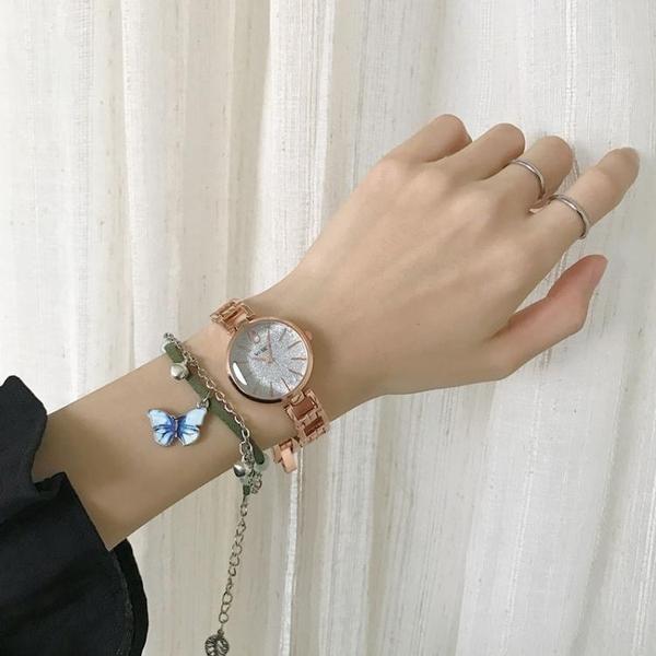 vintage金色手錶復古港風簡約高級感冷淡ins風學生文藝氣質手鏈錶 童趣屋