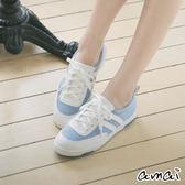 amai MIT台灣製造。記憶鞋墊雙色休閒運動鞋 藍