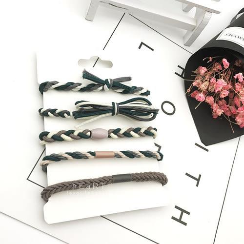 彩色編織髮圈手環套組 彈性髮圈 髮飾 髮圈