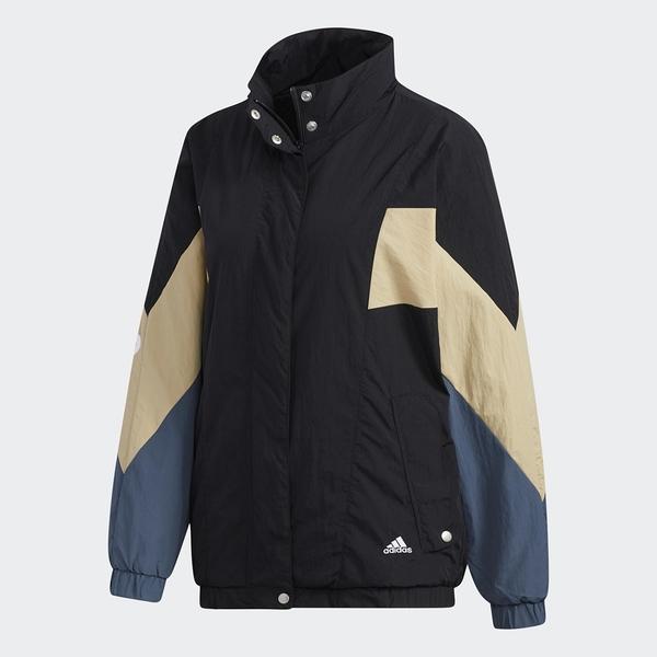 Adidas W MHS WORDING 女裝 外套 風衣 休閒 按扣口袋 羅紋袖口 色塊 黑【運動世界】GF6958