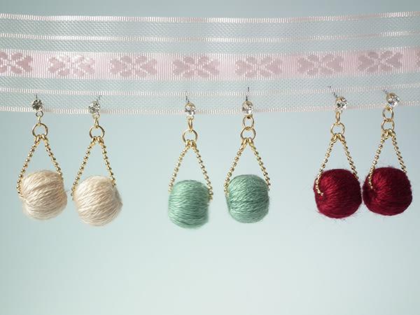 耳環 復古鋯石毛線球系列-米色 耳針 i917ღ