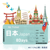 【Want Card】日本上網卡 8日不降速 4G上網 吃到飽上網SIM卡 網卡 漫遊卡