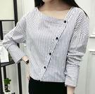 EASON SHOP(GU7397)韓版氣質細直條紋不對稱設計斜邊釦斜邊領長袖襯衫露鎖骨女上衣服寬鬆顯瘦修身