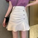 魚尾裙 裙子夏季高腰不規則半身裙女顯瘦魚尾裙白色A字裙短裙-Ballet朵朵
