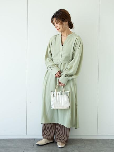 「Summer」分層設計V領綁帶洋裝 - Green Parks